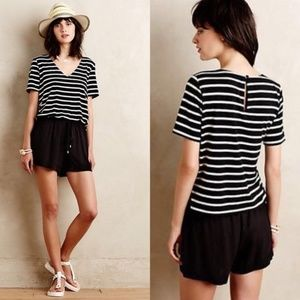 Elevenses Black & White Striped Romper Medium